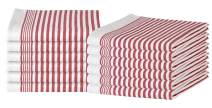 GLAMBURG 100% Cotton Kitchen Towels and Dish Cloth Sets, 12 Pack 18x28 Classic Stripe Dish Towels,Tea Towels,Bar Towels, Cleaning Towels, Highly Absorbent Dishcloth,Kitchen Towel Set - Red