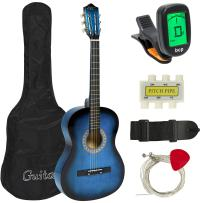 Best Choice Products 38in Beginner Acoustic Guitar Starter Kit w/Case, Strap, Tuner, Pick, Strings - Blue