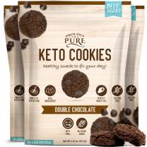 Proudly Pure Mini Bite Size On the Go 3 Pack Keto Cookie Double Chocolate Chip Snacks- Healthy Low Carb, Diet Friendly Tasty & Delicious Gluten Free Food Treats Made With Real All Natural Ingredients