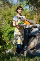 "Linum Isabella Cotton Bib Apron Floral Flower Lemons and Leaf Pattern Adjustable Washable 36"" x 28"" Creamy Beige"