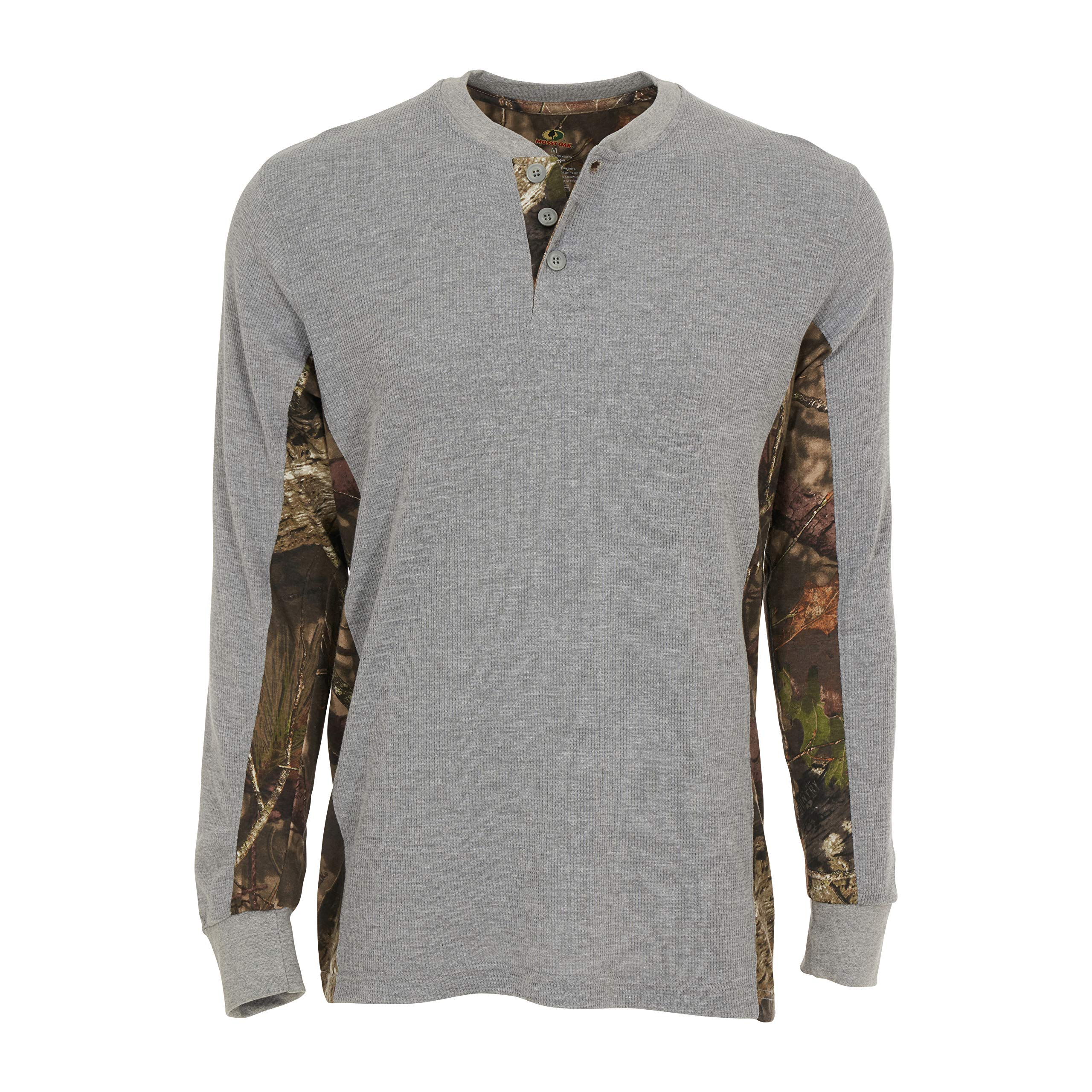 Mossy Oak Camo Mens Thermal Long Sleeve Shirt Waffle Knit Thermal Crew Neck with Buttons