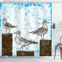 """Ambesonne Seagulls Shower Curtain, Gulls Resting on Wooden Pillars Grungy Sketched Print with Abstract Backdrop, Cloth Fabric Bathroom Decor Set with Hooks, 84"""" Long Extra, White Brown"""