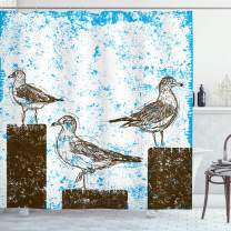 "Ambesonne Seagulls Shower Curtain, Gulls Resting on Wooden Pillars Grungy Sketched Print with Abstract Backdrop, Cloth Fabric Bathroom Decor Set with Hooks, 84"" Long Extra, White Brown"