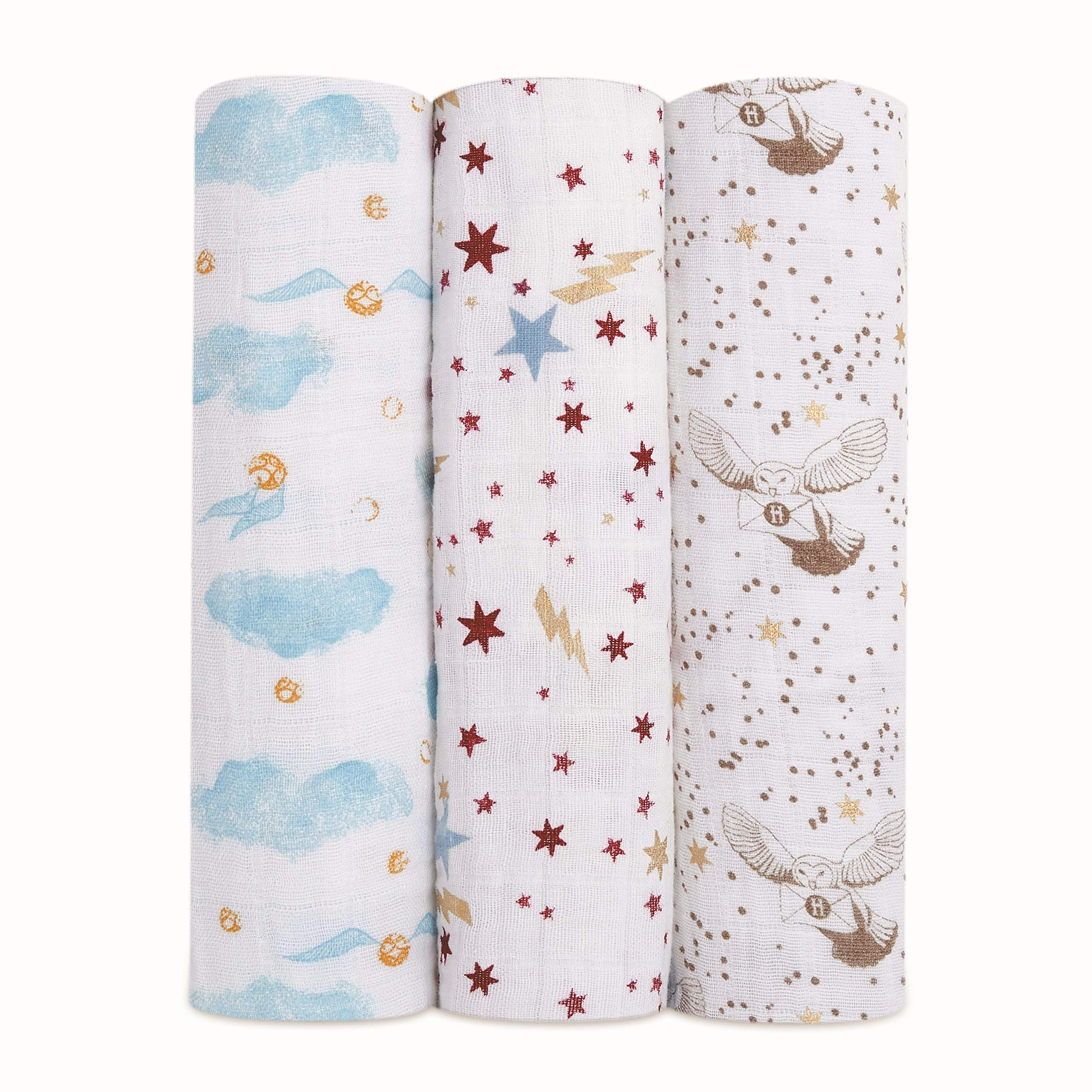 aden + anais Harry Potter Baby Swaddle Blanket Metallic Muslin Blankets for Girls & Boys Receiving Blanket, Newborn Nursery Gifts, Unisex Infant & Toddler Shower Items, Swaddling 3 Pack, Hogwarts
