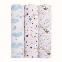 aden + anais Harry Potter Baby Swaddle Blanket|Metallic Muslin Blankets for Girls & Boys|Receiving Blanket, Newborn Nursery Gifts, Unisex Infant & Toddler Shower Items, Swaddling 3 Pack, Hogwarts
