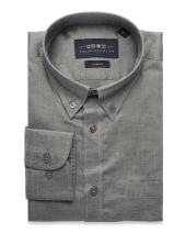 Collar Tales Father's Day Men's Superfine Cotton Slim Fit Narrow Collar Button Down Long Sleeve Sport Shirt with Pocket
