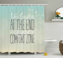"Ambesonne Lifestyle Shower Curtain, Motivational Life Begins at The End of Your Comfort Zone Words Concept Print, Cloth Fabric Bathroom Decor Set with Hooks, 70"" Long, Mint"