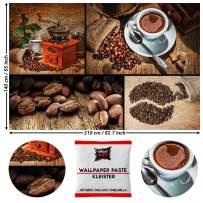 GREAT ART Photo Wallpaper Coffee Collage Decoration 210x140 cm / 82.7x55in – Café Beans Grinder Cup Latte Macchiato Cappuccino Espresso Modern Mural – 5 Pieces Includes Paste