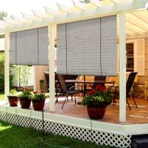 TANG Exterior Roller Shade Roll up Shade for Patio Deck Porch Pergola Balcony Backyard Outdoor Blinds Light Filtering Block UV Rays 4'W x 6'L Hollow Out Striped Light Grey