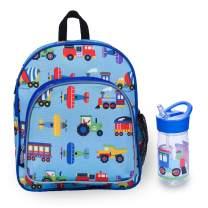 Wildkin 12 Inch Kids Backpack Bundle with Water Bottle (Trains, Planes & Trucks)