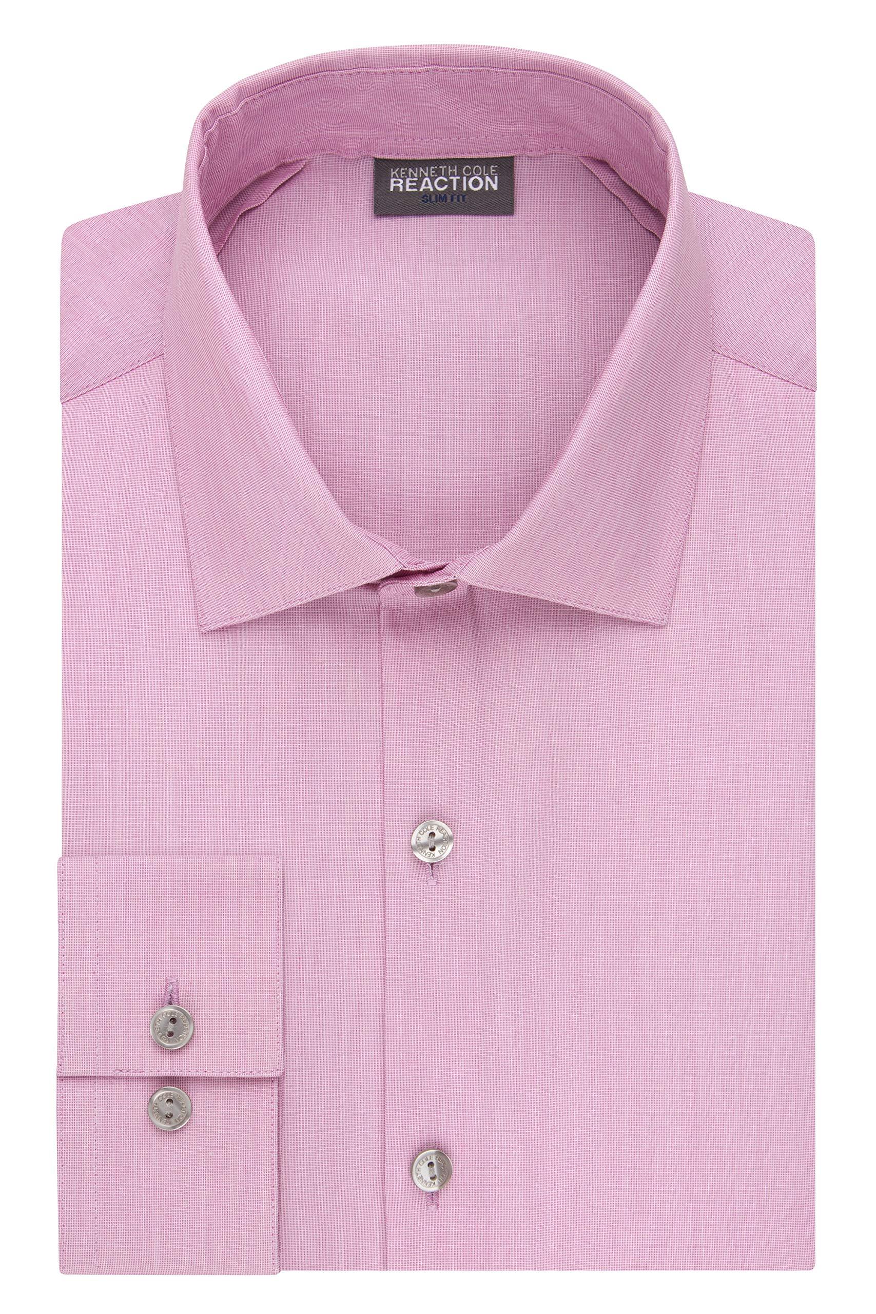 Kenneth Cole REACTION Men's Dress Shirt Slim Fit Technicole Stretch Solid