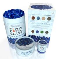 EcoGen Fire Glass Rocks for Outdoor Fire Pits and Indoor Fireplace, Color, Optimal Heat for Propane or Gas, Tempered and Reflective, Eco-Friendly Packaging, Cobalt Blue 1/4 inch Non-Reflective 12 lbs.