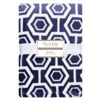 Hexagon Plush Baby Blanket Blue