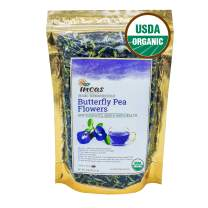 Incas 100% USDA Organic Butterfly Pea Flower Tea 4.41 oz (125 g) Dried Butterfly Pea Flowers Caffeine Free Gluten Free Non GMO Vegan Rich in Antioxidants Sourced from Thailand Free eBook