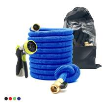 Expandable Garden Hose 50 Ft Strong reel. Brass Connectors w/Protectors 100% No-Rust & Leak. Accesories: 8-Way Spray Metal Nozzle & Storage bag. Best Water Hose f/Pocket Use. Flex Expanding. (blue)
