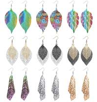 JOERICA 9 Pairs Double Hollow Leaf Earrings Bohemian Sequin Earrings Set Metal Leaves Drop Dangle Vintage Hook Earrings for Women