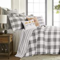 Levtex - Camden Bedspread Set - King Bedspread (120 x 118 in.) + Two King Pillow Shams (36 x20 in.) - Buffalo Check in Grey and Cream - Reversible Pattern - Cotton