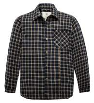 WenVen Men's Plaid Flannel Thermal Lined Button Down Shirt Jacket