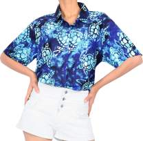 HAPPY BAY Womens Relaxed Hawaiian Shirt Blouse Tops Button Down Shirt 3D Printed