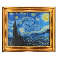 """UpperPin The Starry Night by Vincent Van Gogh, Oil Painting Print on Museum Quality Canvas, with Victorian Gold Frame, Size 30"""" x 25"""", Framed Painting Ready to Hang on Your Wall."""