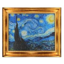"UpperPin The Starry Night by Vincent Van Gogh, Oil Painting Print on Museum Quality Canvas, with Victorian Gold Frame, Size 30"" x 25"", Framed Painting Ready to Hang on Your Wall."