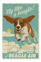 Beagle - Retro Aviation Ad (Premium 1000 Piece Jigsaw Puzzle for Adults, 20x30, Made in USA!)