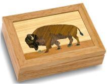MarqART Wood Art Buffalo Box - Handmade USA - Unmatched Quality - Unique, No Two are The Same - Original Work of Wood Art. A Buffalo Gift, Ring, Trinket or Wood Jewelry Box (#4110 Buffalo 4x5x1.5)