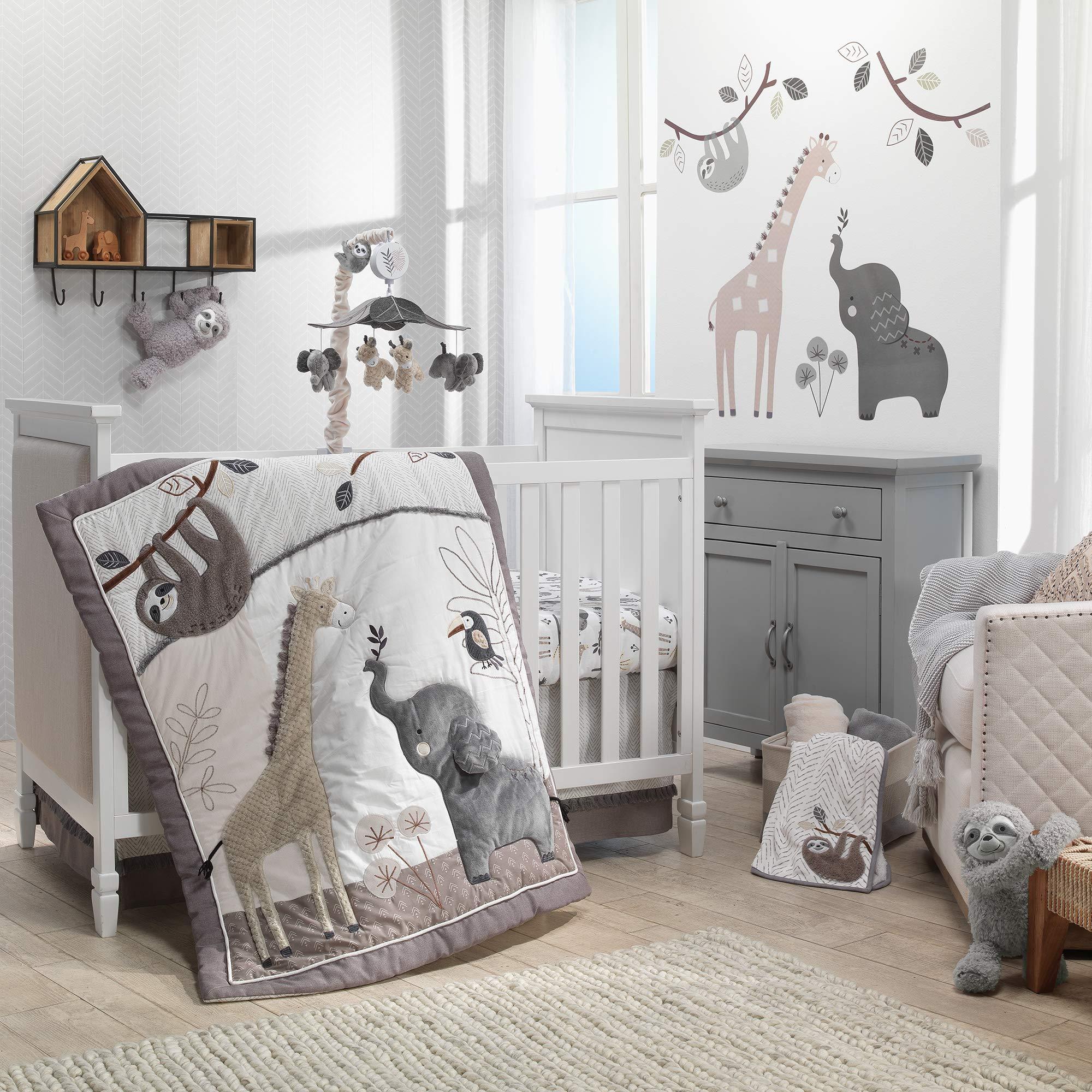 Lambs & Ivy Baby Jungle Animals 4-Piece Gray/White/Taupe Crib Bedding Set