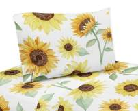 Sweet Jojo Designs Yellow, Green and White Sunflower Boho Floral Twin Sheet Set - 3 Piece Set - Farmhouse Watercolor Flower