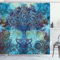 """Ambesonne Ethnic Shower Curtain, Grunge Style Tree Pattern with Mandala and Spiral Shapes Blurry Artwork, Cloth Fabric Bathroom Decor Set with Hooks, 75"""" Long, Turquoise Brown"""