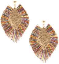 MIRMARU Women's Silky Thread Fringe Tassel Drop Dangling Diamond Fan Shape Bohemian Statement Post Earrings