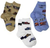 Jefferies Socks Little Boys' Transportation Triple Treat Socks  (Pack of 3)