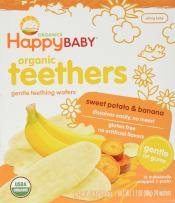 Happy Baby Organic Teethers, Banana and Sweet Potato, Gentle Teething Wafers, Packets, Soothing Rice Cookies for Teething Babies, 2 Count per pack, 12 Count per box, 1.7 Ounce