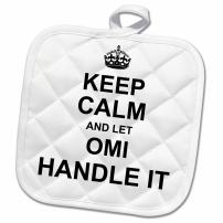 3D Rose Keep Calm and Let Omi Handle It-Fun Funny Grandma Grandmother Gift Pot Holder, 8 x 8