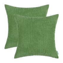 CaliTime Pack of 2 Comfy Throw Pillow Covers Cases for Couch Sofa Bed Decoration Comfortable Supersoft Corduroy Corn Striped Both Sides 20 X 20 Inches Forest Green