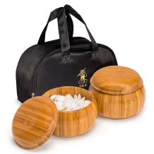 Yellow Mountain Imports Double Convex Melamine Go Game Stones (9mm, Size 32.5) with Bamboo Bowls