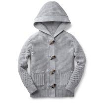 Hope & Henry Boys' Chunky Waffle Stitch Hooded Sweater