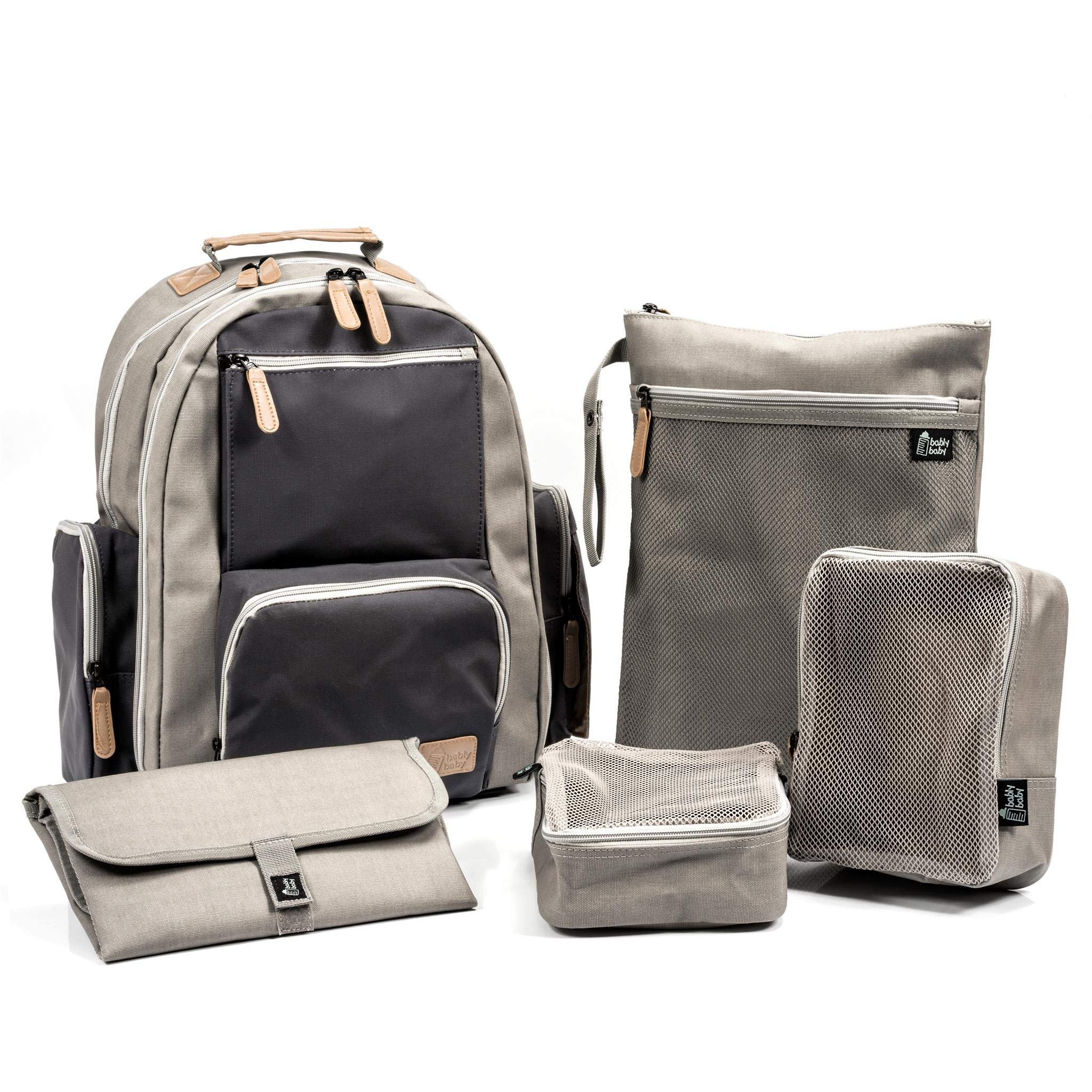 Large Capacity Diaper Bag Backpack, Coated Canvas Diaper Bag with YKK Zippers, Comes With Two Packing Cubes, Wet Dry Bag, Changing Pad, and Stroller Straps by Bably Baby (Grey/Navy Two-Tone)