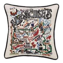 Catstudio Massachusetts Embroidered Decorative Throw Pillow | Beautiful Award Winning Home Decor Artwork | Great for The Living, Family, Bed Rooms