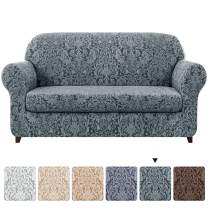 subrtex Sofa Slipcover 2-Piece Jacquard Damask Couch Cover with Seat Cushion Stretch Furniture Protector for Armchair in Living Room for Kids, Pets (X-Large,Grayish Green)