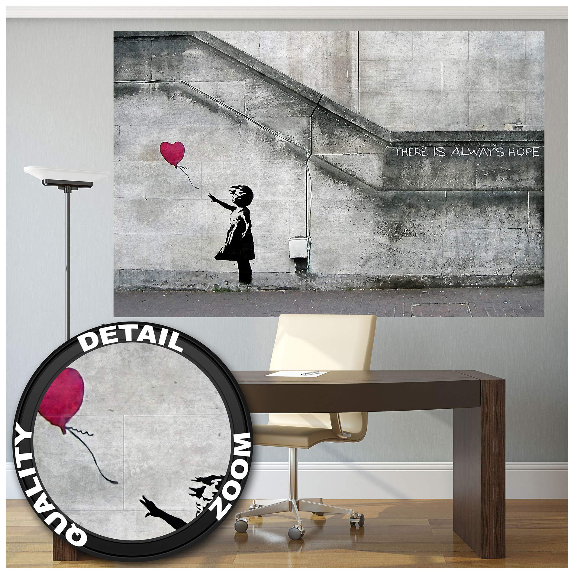 Mural – Banksy Art Balloon Girl – Mural Decoration There is Always Hope Banksy Girl with Balloon Banksy Street Style Stencil Wallpaper Photoposter Wall Decor (82.7 x 55 Inch / 210 x 140 cm)