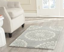 Safavieh Bella Collection BEL122A Handmade Grey and Ivory Premium Wool Area Rug (2' x 3')