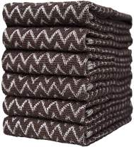 """Premium Kitchen Towels (16""""x 26"""", 6 Pack) – Large Cotton Kitchen Hand Towels – Chevron Design – 390 GSM Highly Absorbent Tea Towels Set with Hanging Loop – Chocolate"""