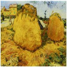 3dRose ct_128135_1 Haystacks in Provence by Vincent Van Gogh Ceramic Tile, 4-Inch