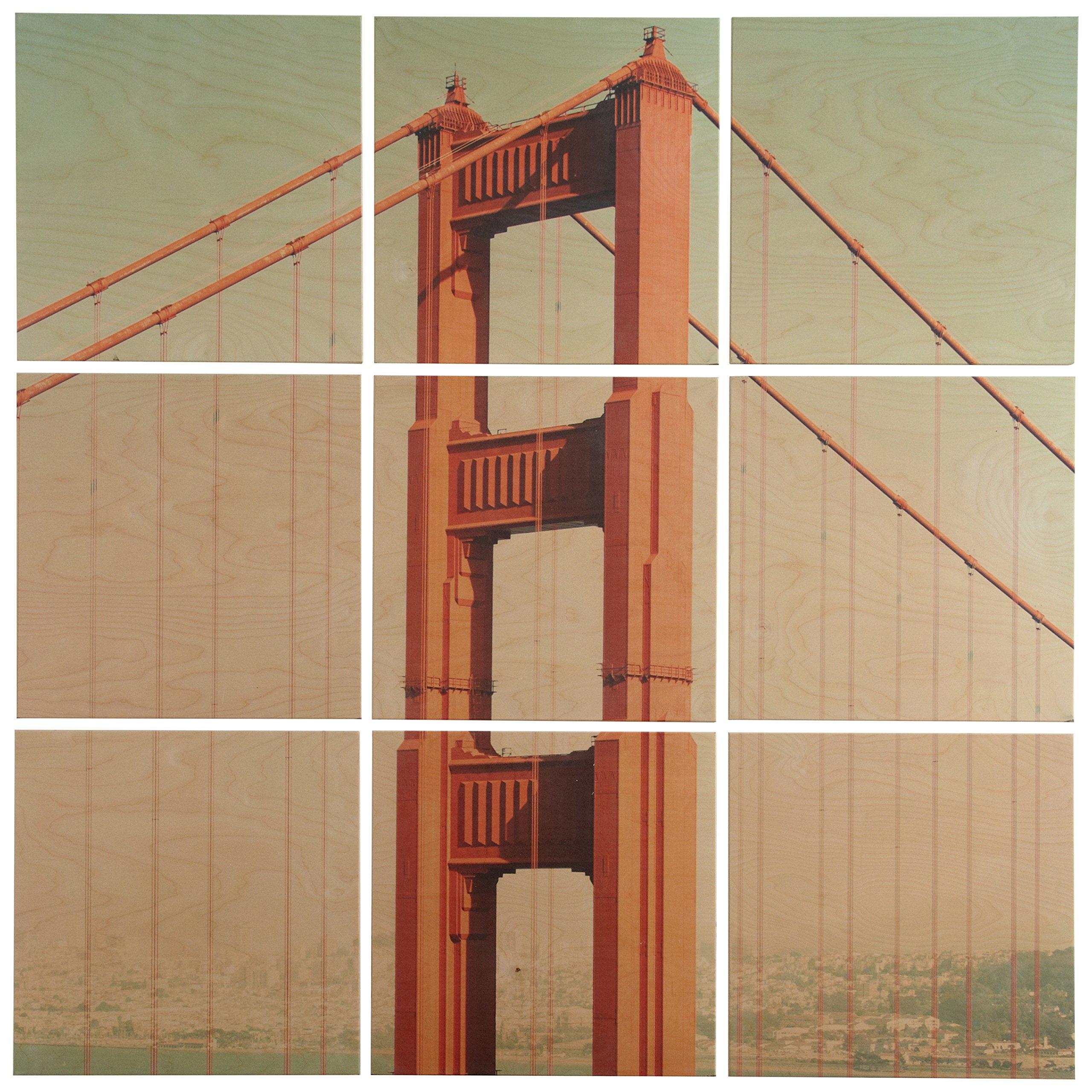 """Rivet 9-Piece Golden Gate Bridge Mural Wall Art on Wood, 36"""" x 36"""""""