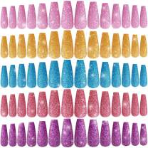 240 Pieces Extra Long Press on Nails Ballerina Coffin False Nails Solid Color Full Cover Fake Nails Artificial Acrylic Nails for DIY Nail Art Salon Women Girls (Shiny Pattern)