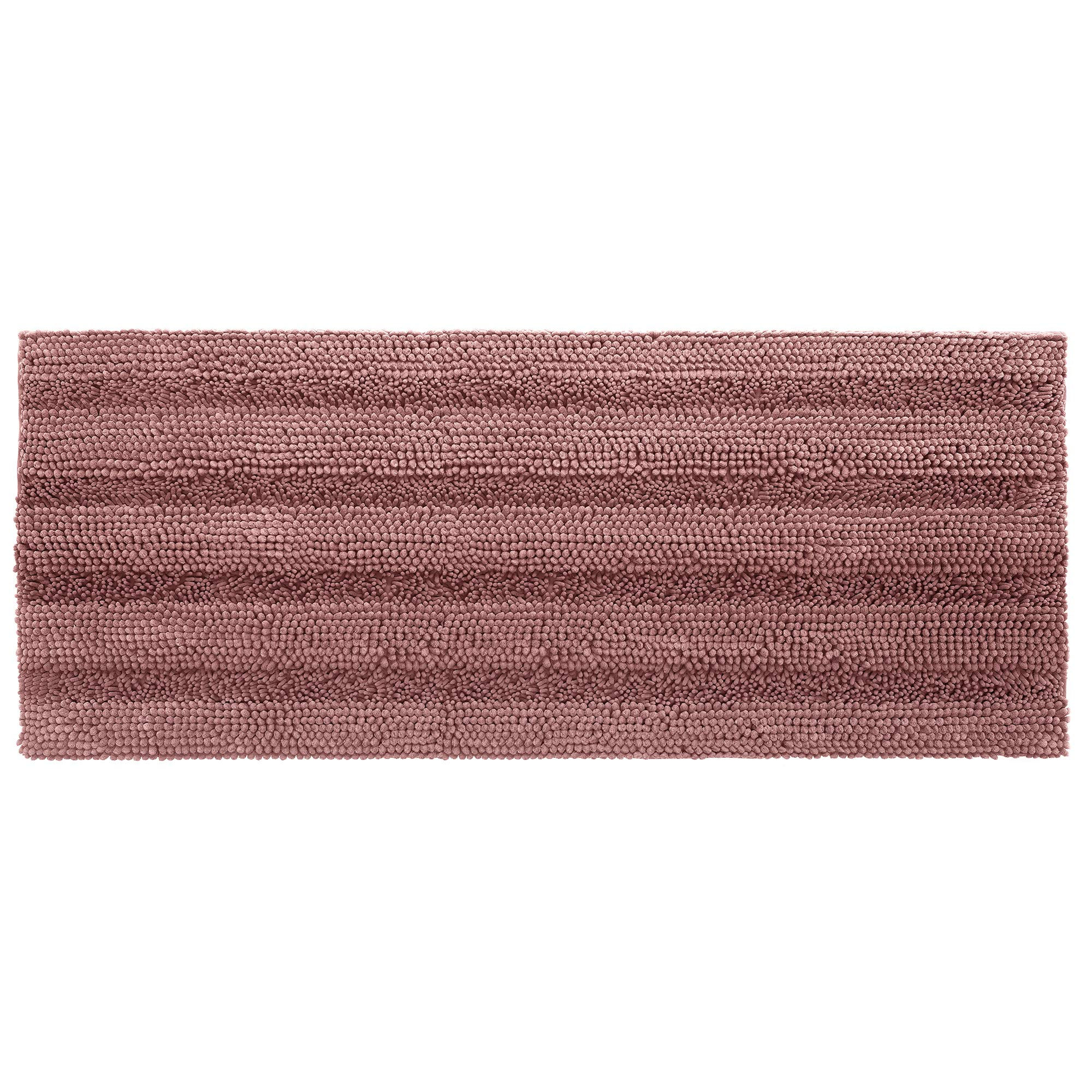 Shaggy Chenille Bath Mat, Soft and Absorbent Non Slip Bathroom Rug, Plush Carpet Mats for Bathtub and Shower, Machine Washable, 24 x 60 Inch, Old Rose
