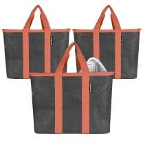 CleverMade SnapBasket Insulated Reusable Grocery Shopping Bags with Reinforced Bottom and Zippered Lid, Collapsible Durable Food Delivery Totes, 20L Size, Charcoal/Coral, 3 Pack