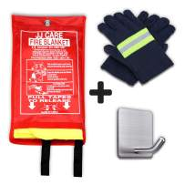 """JJ CARE Premium Fire Blanket (UPGRADED) Fire Suppression Fire Fighting Blanket Fiberglass Cloth (40""""x40"""") Flame Retardant Fire Safety Blanket Survival kit with Hook & Black Grip for Camping & Kitchen"""