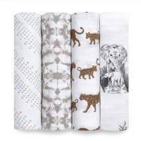 aden + anais Swaddle Blanket, Boutique Muslin Blankets for Girls & Boys, Baby Receiving Swaddles, Ideal Newborn & Infant Swaddling Set, Perfect Shower Gifts, 4 Pack, Hear Me Roar